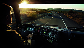 point of view driving a Volvo truck
